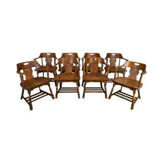 Antique Solid Oak Set of 8 Captains Tavern Chairs For Sale