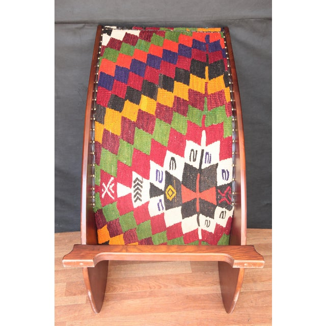 Boho Chic Wood Folding Rocking Chair For Sale - Image 4 of 10