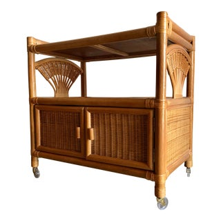 Vintage Mid Century Modern Natural Woven Bamboo Rattan Cart For Sale