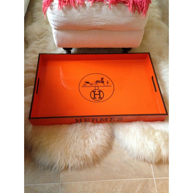 Vintage Hermes Inspired Orange & Brown Large Bar Tray - Image 3 of 5