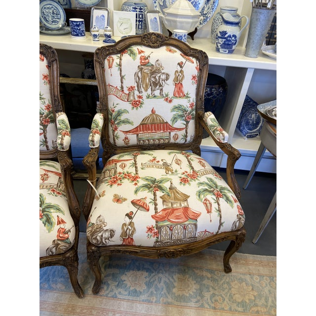1920s French Carved Wood Chairs with Chinoiserie Fabric - a Pair For Sale - Image 4 of 10