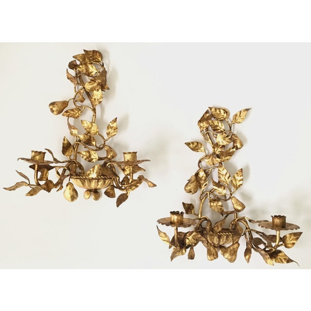 Italian Gold Gilt Tole Sconce Candle Holders- a Pair - Image 2 of 8