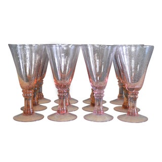 1980s Blush Pink Blown Glass Goblets - Set of 12 For Sale