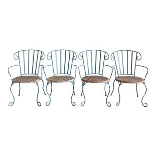 Vintage Verdigris Iron and Woven Rattan Dining or Patio Chairs-Set of Four For Sale