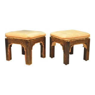 Vintage Hollywood Regency Modern Upholstered Parson Stools Wooden Bench - a Pair