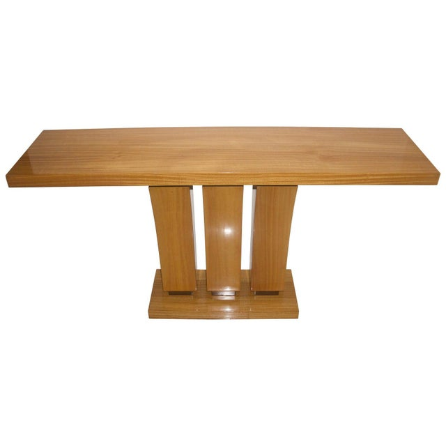 Wood Vintage Karl Springer Style Console Table Satinwood - 2 Are Available For Sale - Image 7 of 7