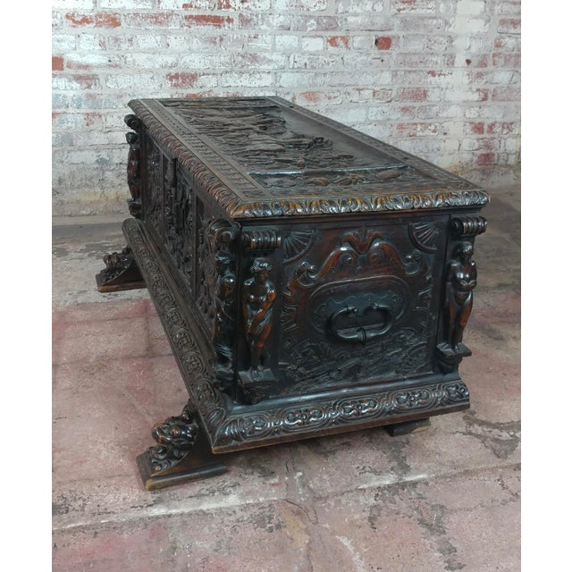 Italian 18th Century Highly Carved Italian Renaissance Cassone For Sale - Image 3 of 11