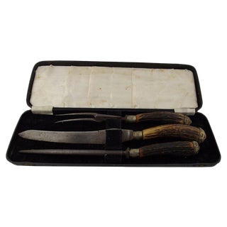 English Stag Handled Carving Set, 3 Pcs For Sale