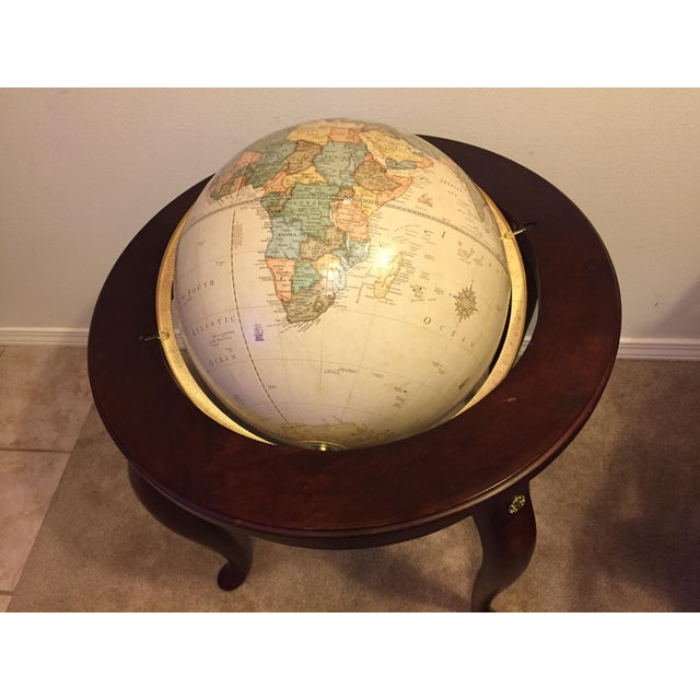 "George F. Cram Co. Floor Model Classic 16"" World Globe with Wooden Stand - Image 3 of 5"