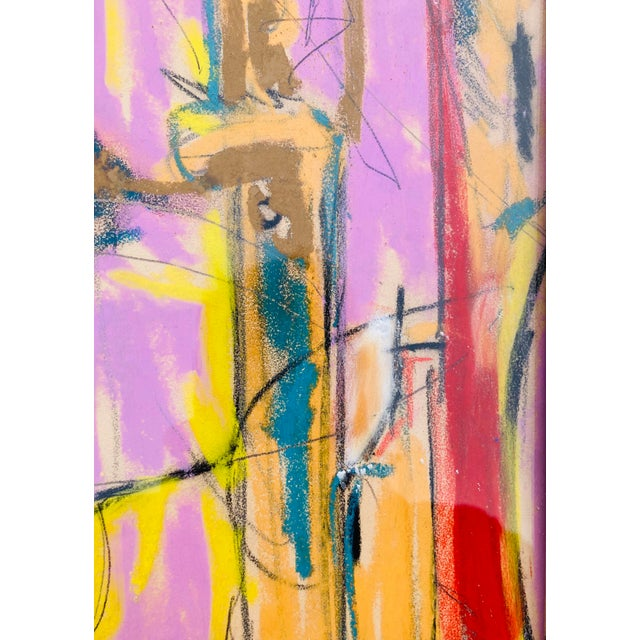 Abstract Contemporary Abstract Pastel Sketch Drawing by Erik Sulander, Framed For Sale - Image 3 of 4