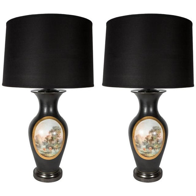 Exquisite Pair of Antique English Vases Mounted as Lamps For Sale - Image 9 of 9
