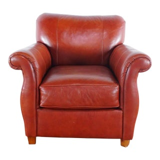 Pottery Barn Leather Armchair For Sale