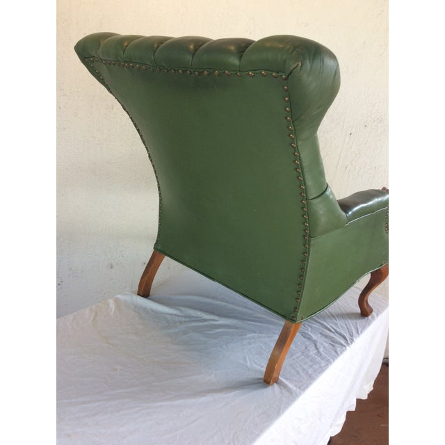 Mid Century Green Leather Spoon Chair and Ottoman For Sale - Image 11 of 12