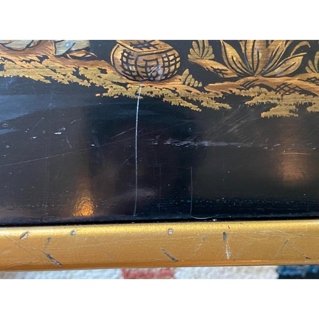 Black Chinoiserie Drexel Heritage Black Lacquer Side Table For Sale - Image 8 of 11