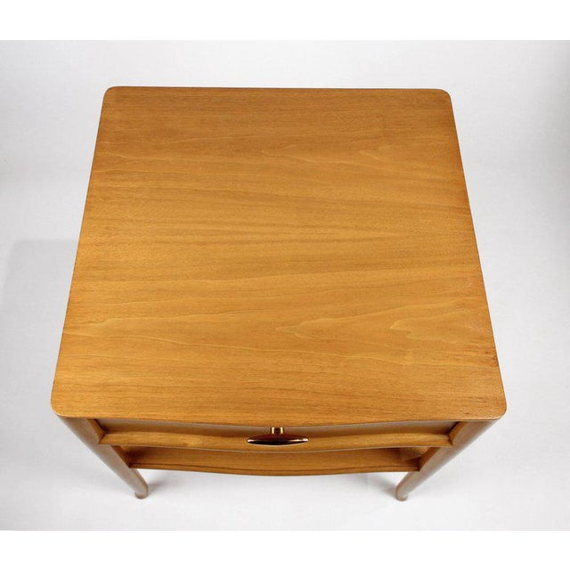 Brown T.H. Robsjohn Gibbings for Widdicomb Bleached Walnut Nightstands - A Pair For Sale - Image 8 of 12