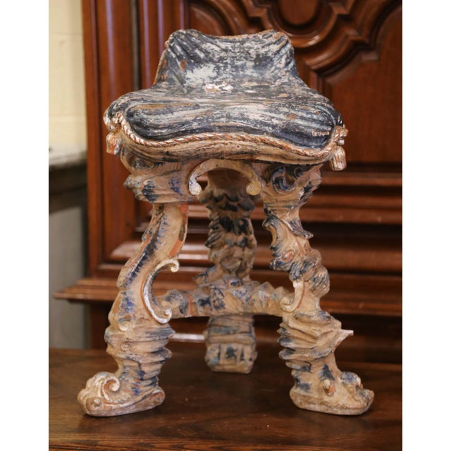 Early 20th Century French Carved Painted and Silver Vanity Chair or Piano Stool For Sale In Dallas - Image 6 of 13