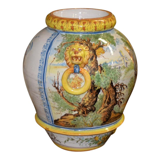 Mid 20th Century Hand Painted Portuguese Jardiniere c.1950 This wonderful hand painted Jardiniere will make a great home...