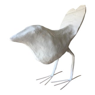 Boho Chic Stray Dog Designs Paper Mache Bird Figurine - White For Sale