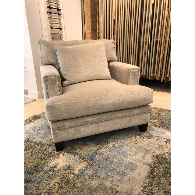 Traditional Linen Velvet Gramercy Chair For Sale - Image 3 of 10