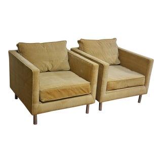 Mid-Century Modern Corduroy Chrome Lounge Chairs - A Pair