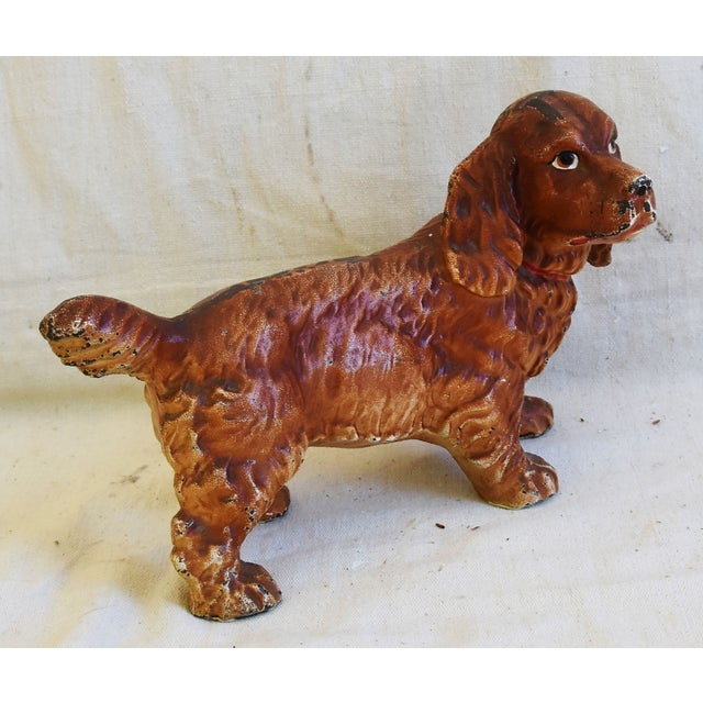 Gold Charming Vintage Cast Iron Dog Figure Doorstop For Sale - Image 8 of 12