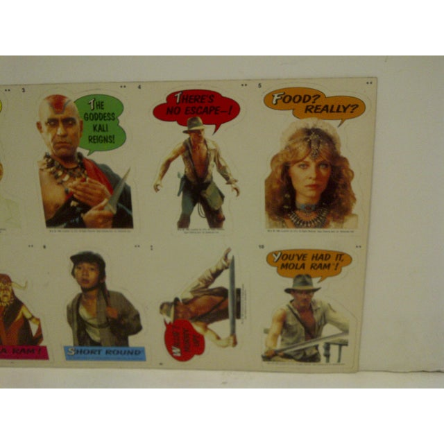 Vintage Un-Cut Sheet of Gum Card Stickers - Indiana Jones and the Temple of Doom For Sale In Pittsburgh - Image 6 of 6
