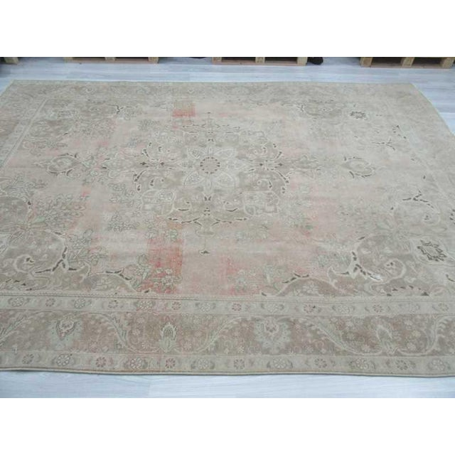 Persian Washed Out Tabriz Rug- 9′1″ × 12′6″ For Sale - Image 4 of 6