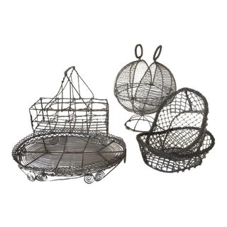 1900s French Provincial Wirework Collection Baskets - Set of 5 For Sale
