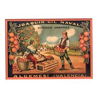 1920's Original Vintage Spanish Fruit Crate Label - Joaquin Gil Naval (Superior Oranges) For Sale