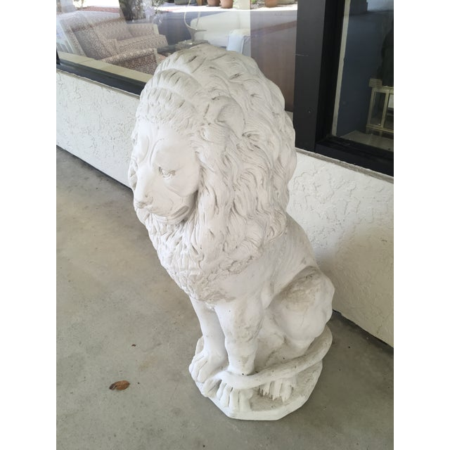 Hollywood Regency Decorative White Stone Lion Fountain For Sale - Image 3 of 4