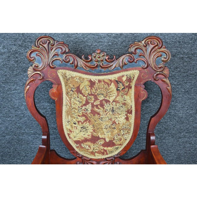 Wood Antique Old World Ornately Carved Shield Back Arm Chair Burgundy Floral Tapestry For Sale - Image 7 of 13