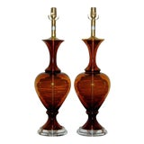 Image of Marbro Vintage Murano Glass Table Lamps in Cognac For Sale