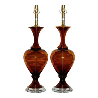 Vintage Swedish Glass Lamps Brown For Sale