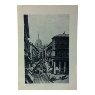 "Circa 1930 ""Corso Vittorio Emanuele"" Print of Milano Italy For Sale"