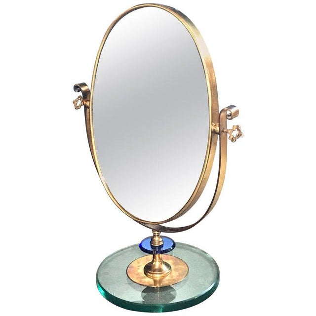 1960s Neoclassical Italian Midcentury Brass Italy Table Vanity Mirror For Sale - Image 13 of 13