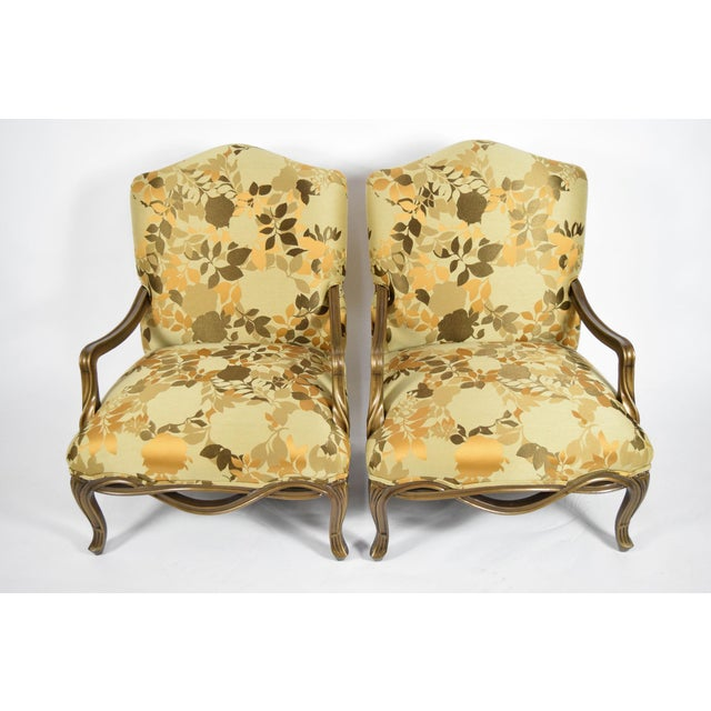 Louis XVI Custom Louis XVI Style Lounge Chairs with Rubelli Fabric - A Pair For Sale - Image 3 of 9