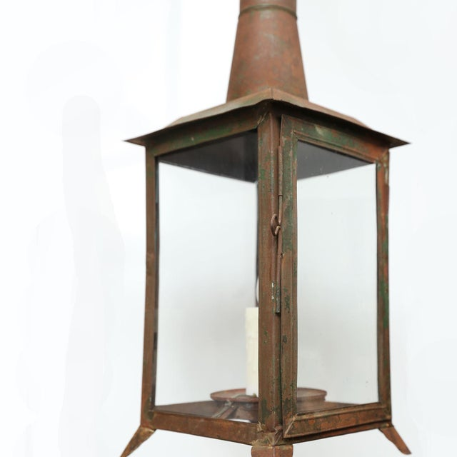 Metal Two French Tôle Lanterns For Sale - Image 7 of 10
