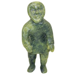 Signed Soapstone Carved Inuit by Quanaq Mikkigak For Sale