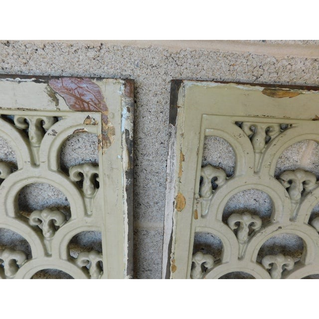 Early 20th Century Large Antique Wrought Iron Trefoil Design Wall Heat Grate Decor 46w - a Pair For Sale - Image 5 of 8