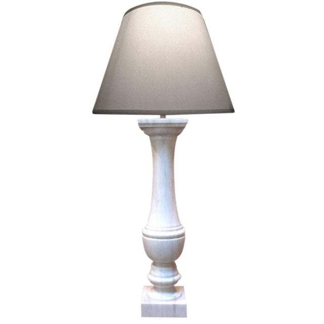 Elegant & Translucent Italian White Marble Baluster now a Lamp For Sale