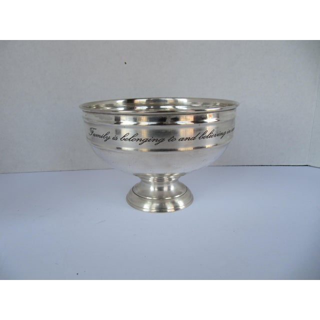 Silver-plate Serving Bowl with Family Quote For Sale - Image 6 of 6