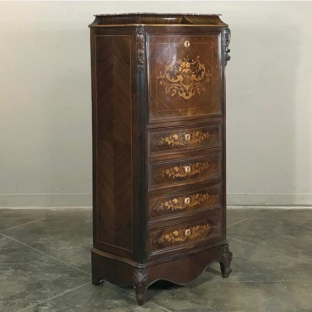 Napoleon III 19th Century French Parisienne Rosewood Marble Top Drop-Front Secretary For Sale - Image 3 of 13