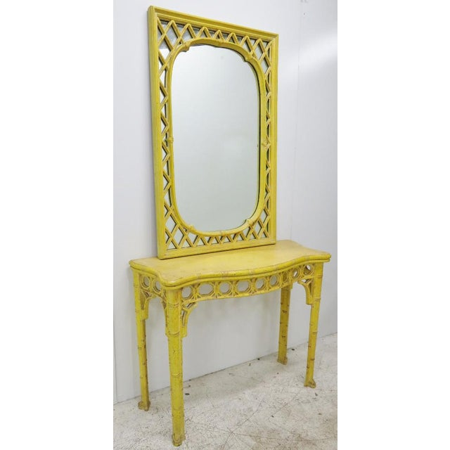 Chinoiserie Yellow Console Table & Mirror - Image 8 of 8