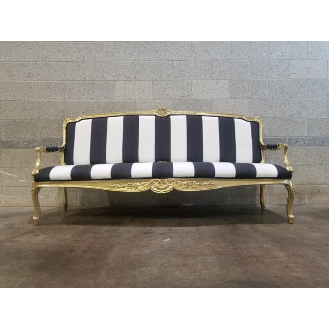 1950s Vintage Victorian Black and White Striped Sofa For Sale - Image 11 of 11