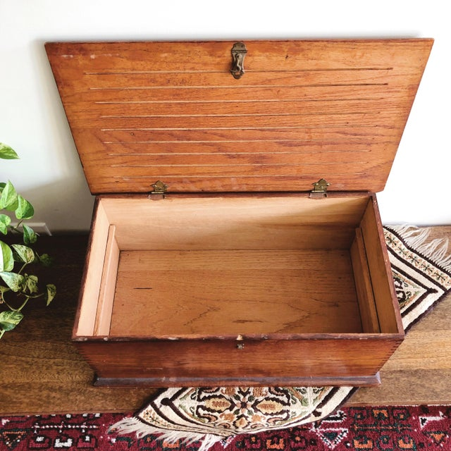 Antique Oak Desk Box With Brass Hardware For Sale - Image 4 of 10