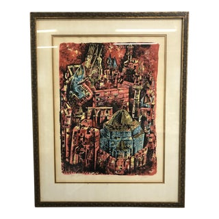 Abstract King David Lithograph Yosef Stern Signed Print 1960 For Sale