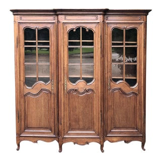 19th Century Country French Triple Bookcase For Sale