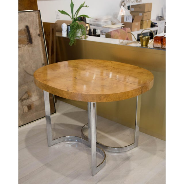Chrome Expandable Burl Wood Dining Table by Milo Baughman for Lane Furniture For Sale - Image 7 of 9
