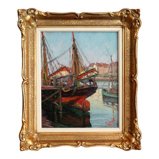 Sailboats Impressionism Oil Painting, Signed For Sale
