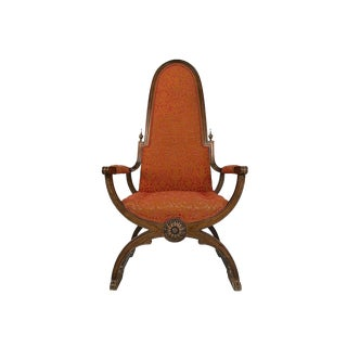 Mid-Century Throne Style Armchair With Cerulean Base For Sale